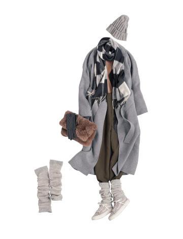 グレーニット帽×グレーコート