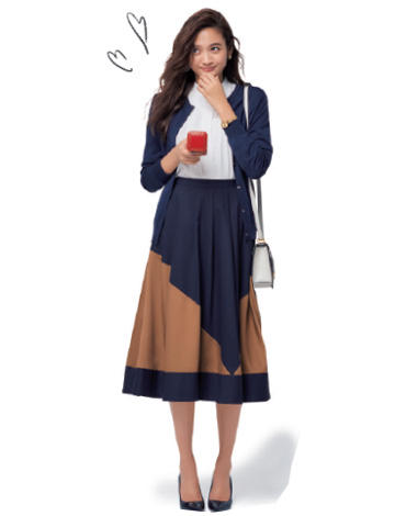 紺カーディガン×フレアスカート