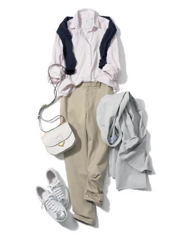 白スニーカー×シャツ