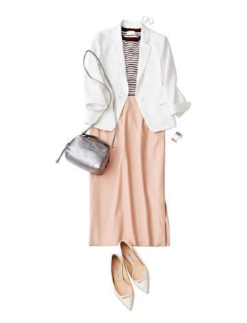白ジャケット×ピンクスカート