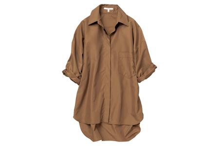 ルーニィのテラコッタ色のUVカット加工のシャツ