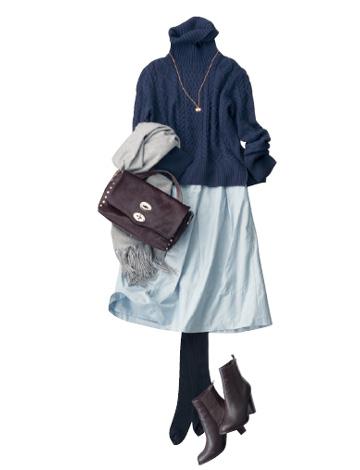 紺タートルニット×ブルースカート
