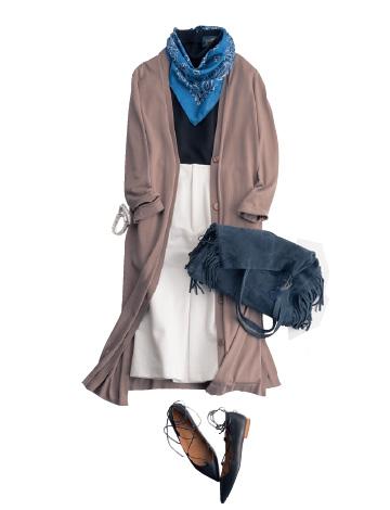 白デニムスカート×スカーフ