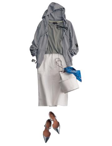 白デニムスカート×パーカー