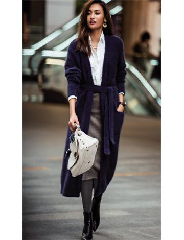紺ロングカーディガン×グレースカート
