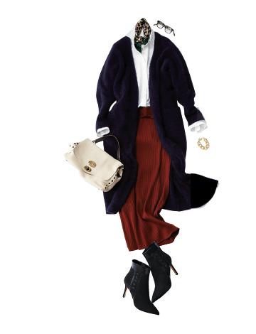 赤ロングタイトスカート×白シャツ×黒カーディガン