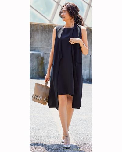 黒ドレス系ノースリーブワンピース×ロングジレ