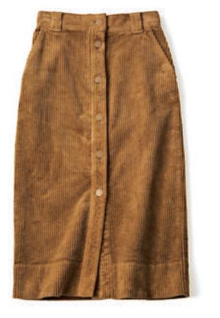 エストネーション×キャメルのミディ丈タイトスカート