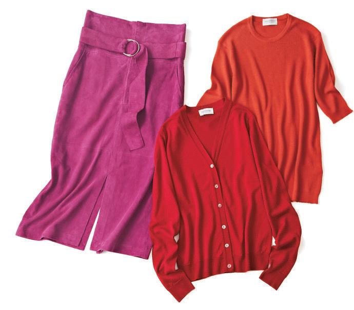 赤カーディガン×ピンクスカート