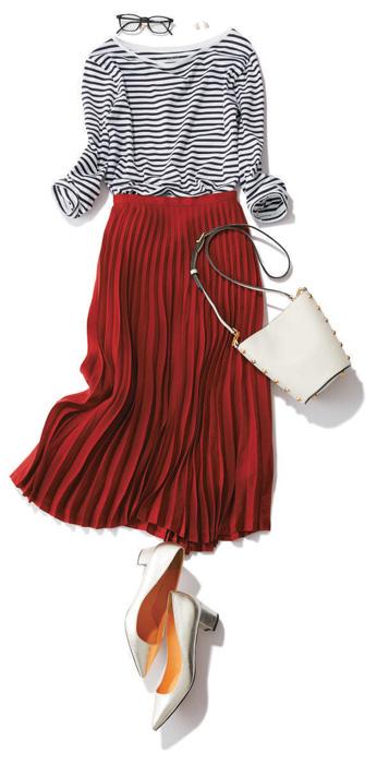 赤スカート×ボーダーカットソー