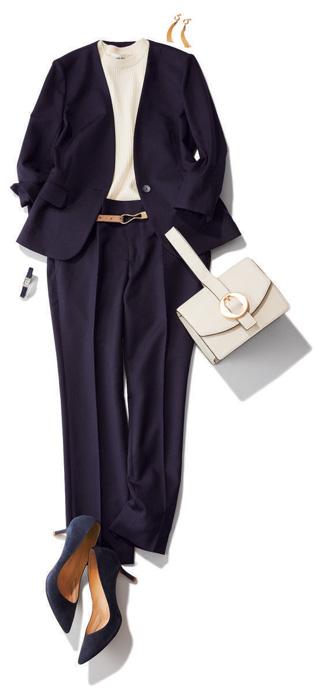 紺パンツ×紺ジャケット