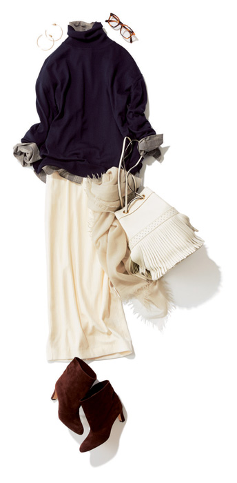 ネイビータートルニット×白コーデュロイスカート
