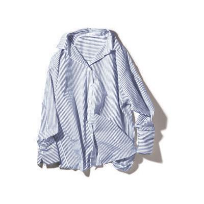 FRAY I.D×小さめ襟のモノトーン細ストライプシャツ