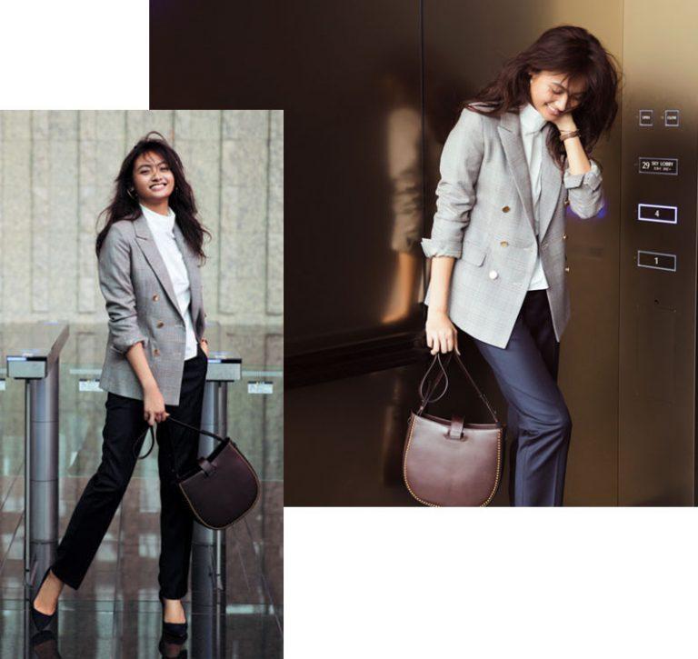 紺パンツ×グレンチェックテーラードジャケット
