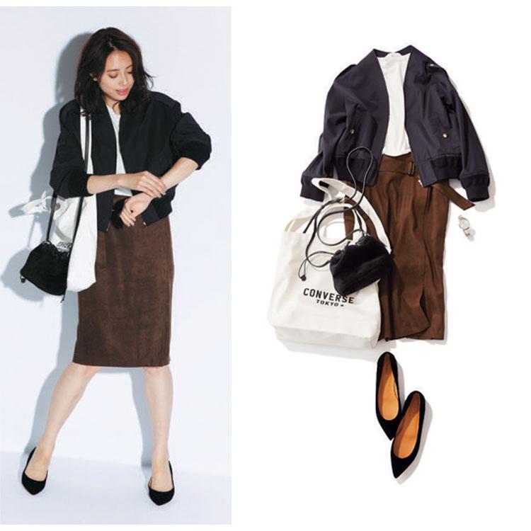 黒ブルゾン×白カットソー×ブラウンタイトスカート