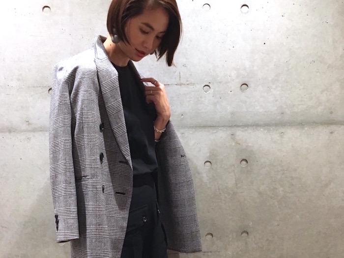 グレンチェックのテーラードジャケット