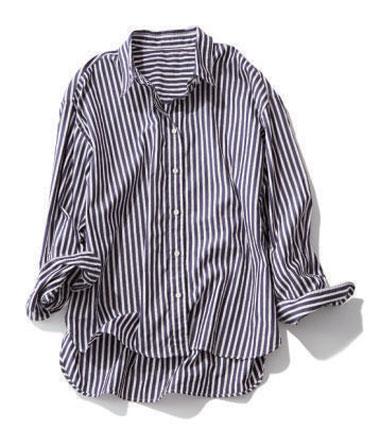 エストネーション×ネイビーのストライプシャツ