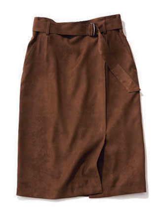 BOSCHの茶のスエード調タイトスカート