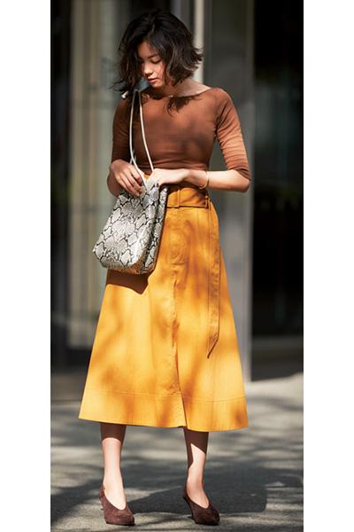 茶色甲深パンプス×からし色スカート