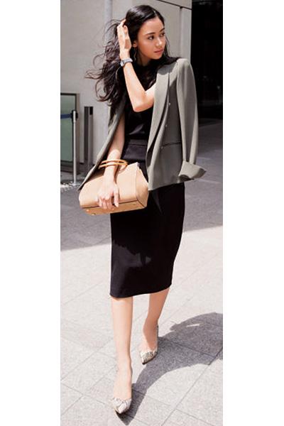 黒ロングタイトスカート×グレージャケット