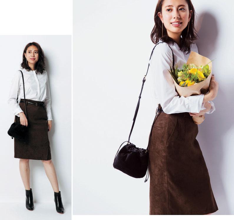 白ノーカラーシャツ×黒タイトスカート