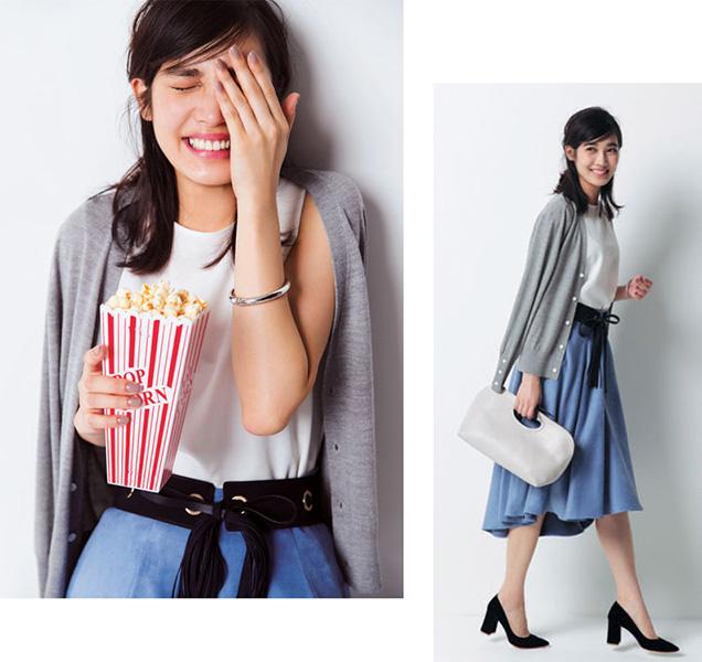 【1】グレーカーディガン×白インナー×青スカート