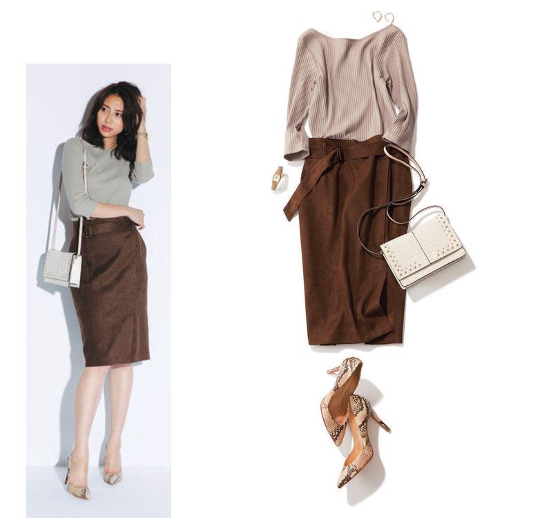 ブラウンカットソー×ブラウンタイトスカート