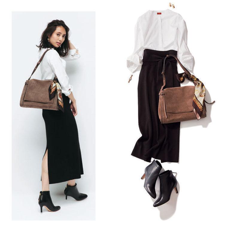 黒ショートブーツ×白シャツ×黒ロングタイトスカート