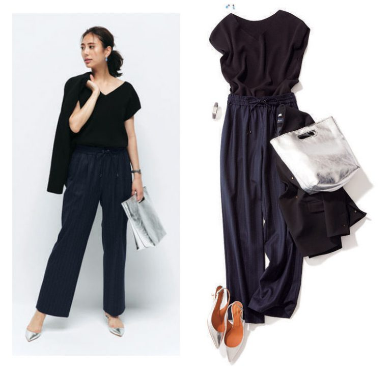 紺パンツ×黒ダブルジャケット