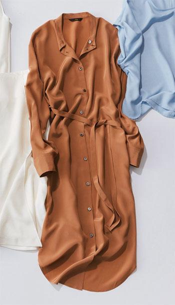 ワンピース 種類:Liesseのモカ色シャツワンピース
