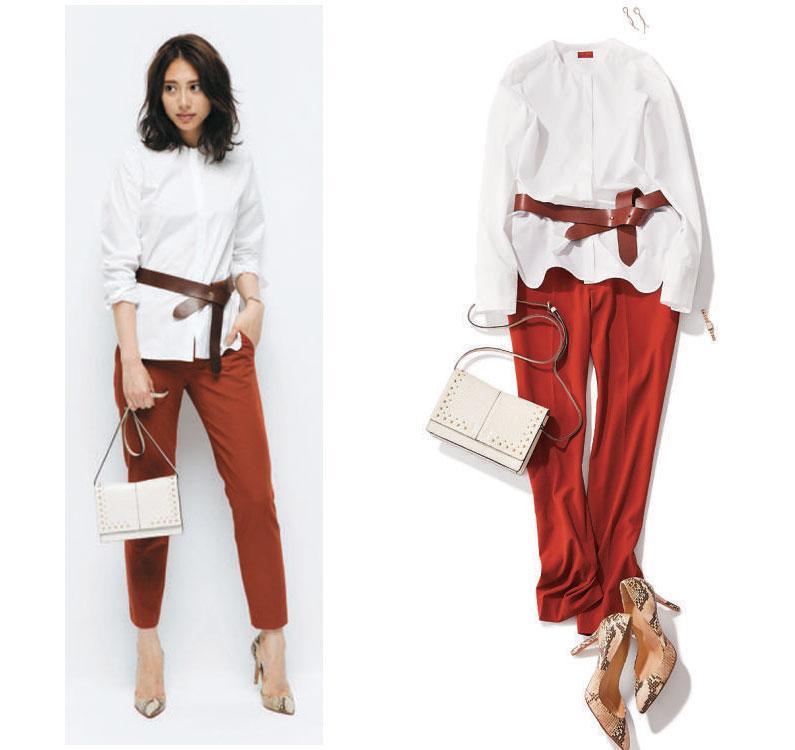 白シャツ×赤パンツ×茶色ベルト