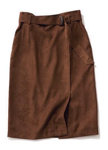 スウェード調のブラウンタイトスカート