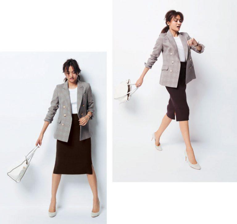 グレーグレンチェックテーラードジャケット×ボルドータイトスカート