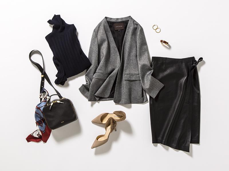 黒レザースカート×グレージャケット