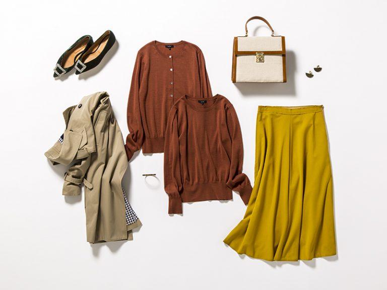 茶色セーター×フレアスカート