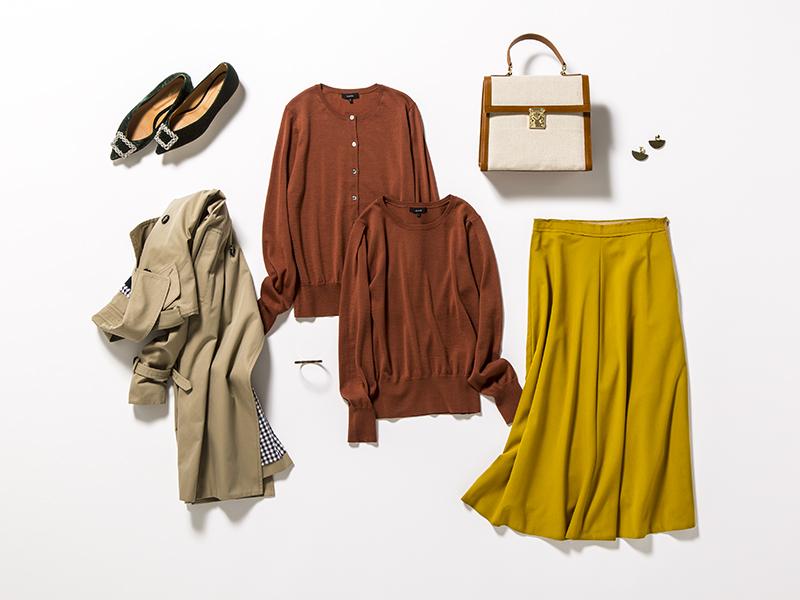 辛子色スカート×ブラウンアンサンブルニット