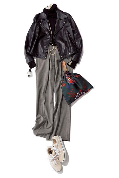 黒タートルネック✕黒ライダースジャケット