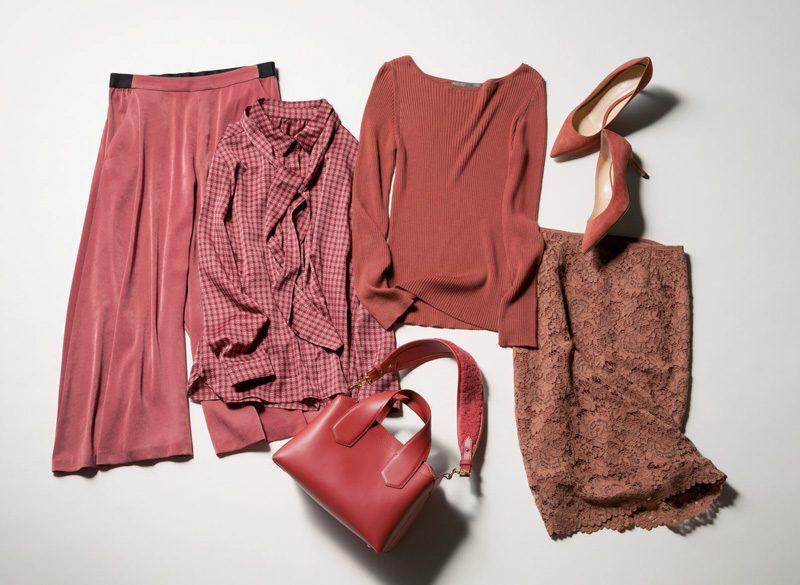 ピンクスカート×ピンクニット