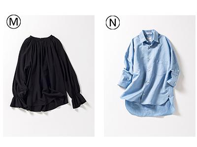 M そでコンシャスブラウス/N ブルーシャツ
