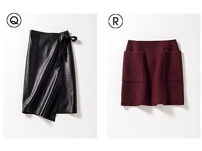 Q レザースカート/R 台形ミニスカート