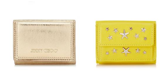 ジミー チュウ×ゴールド・黄色の三つ折り財布