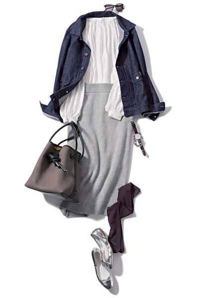 グレーニットタイトスカート×デニムジャケット