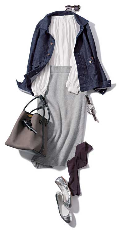 グレーニットスカート×白シャツ