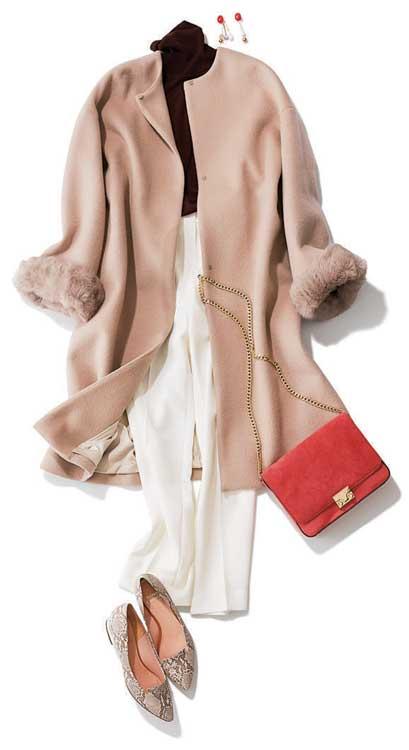 淡色のノーカラーコート