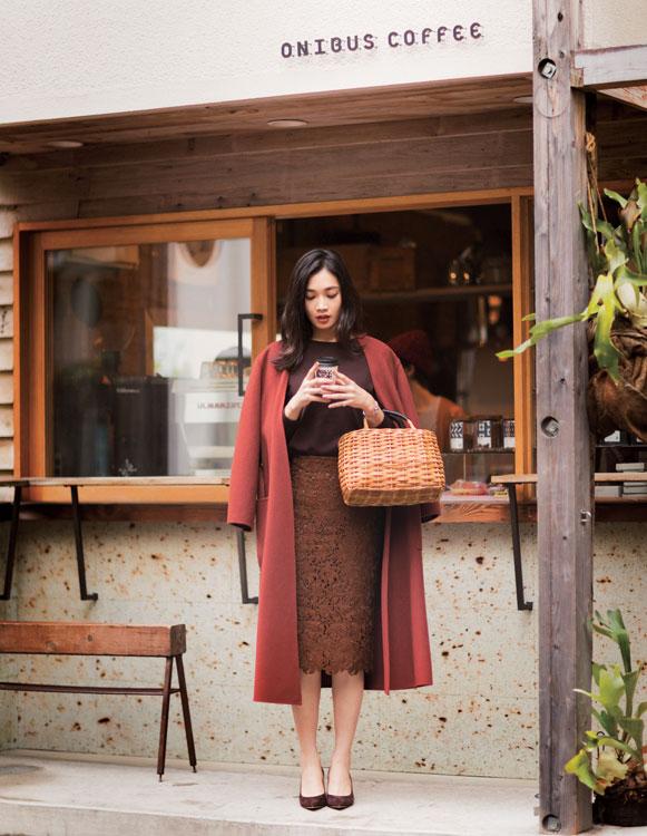 7日目【A】ベルテッドコート+【G】クルーネックニット+【L】レースタイトスカート