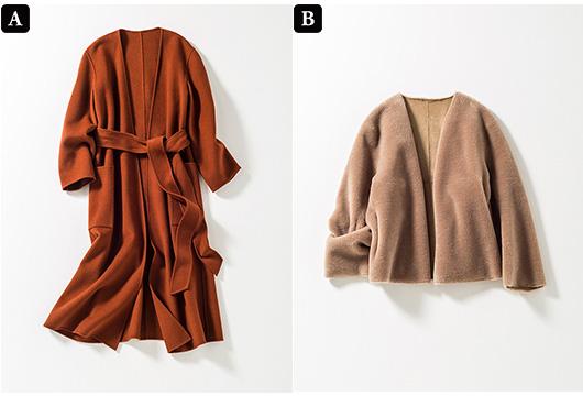 A:ベルテッドコート B:エコファージャケット