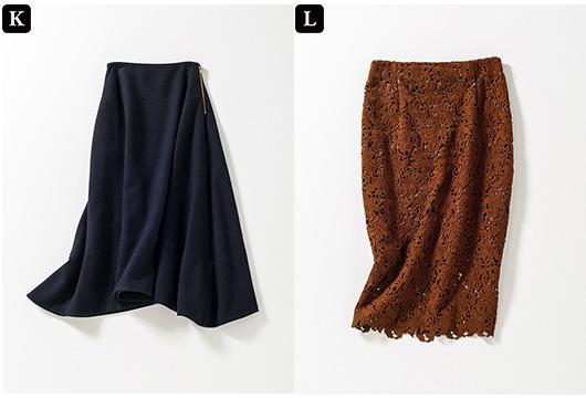 【K】ロングフレアスカート 【L】レースタイトスカート