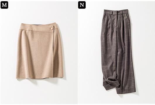 【M】ラップミニスカート 【N】チェック柄ワイドパンツ