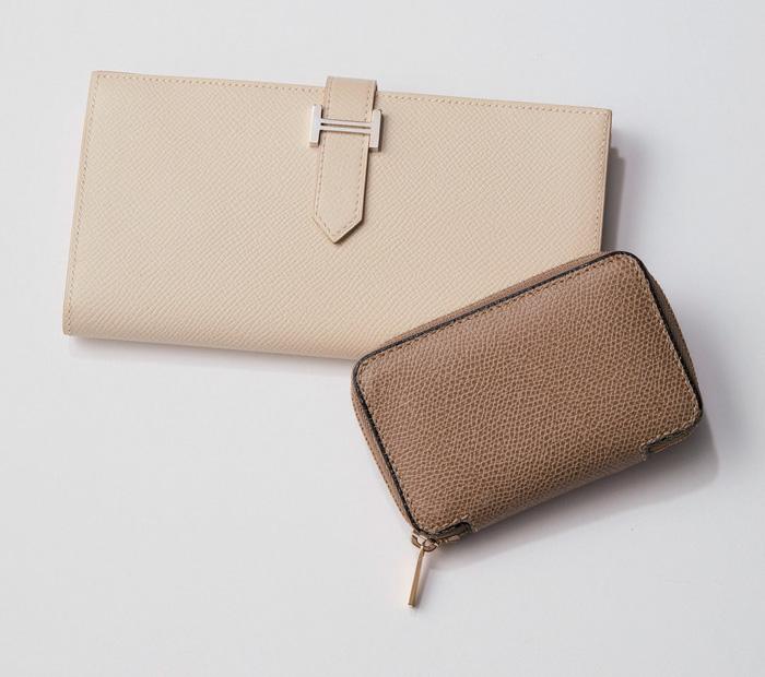 財布|エルメス×ベージュホワイトの長財布