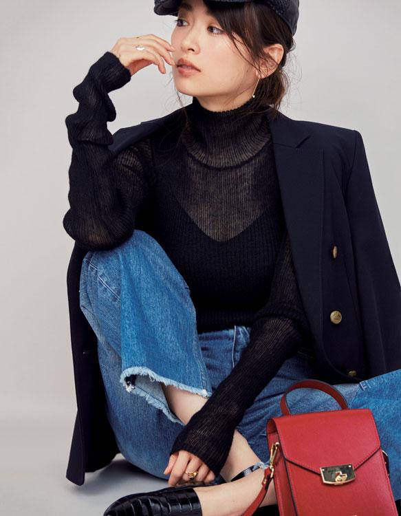 ドゥーズィエム クラスのジャケット×透け黒タートル